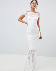 Кружевное платье макси с широким вырезом и юбкой с годе City Goddess Bridal - Белый
