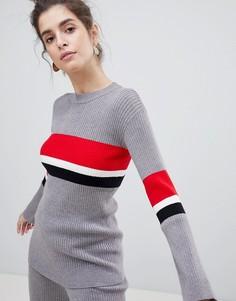 Джемпер с полосками колор блок Neon Rose - Серый