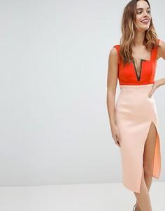 Платье миди колор блок с разрезом до бедра ASOS - Оранжевый