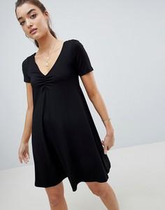 Свободное платье со сборками спереди ASOS DESIGN - Черный