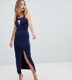 Платье макси с вырезами и разрезом до бедра ASOS DESIGN PETITE - Темно-синий