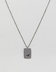 Серебристое ожерелье с армейским жетоном Emporio Armani - Серебряный
