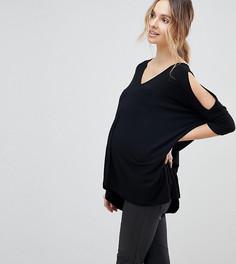 Oversize-топ с открытыми плечами и асимметричным краем ASOS DESIGN Maternity - Черный
