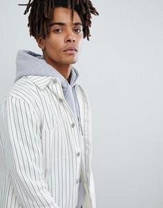 Белая джинсовая куртка в тонкую полоску Mennace - Белый