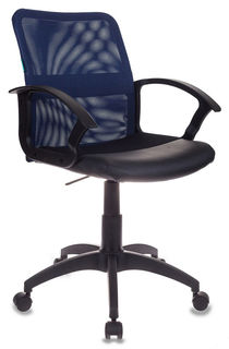 Кресло БЮРОКРАТ CH-590, на колесиках, искусственная кожа, синий [ch-590/bl/black]