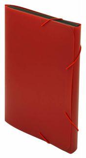 Портфель на резинке Бюрократ -BPR6RED 6 отдел. A4 пластик 0.7мм красный