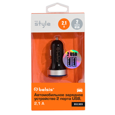 Зарядное устройство Belsis 2xUSB 2100 mA+1000 mA Black BS1303