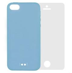 Аксессуар Чехол Krutoff BASEUS Colorful Case + пленка на переднюю панель для APPLE iPhone 5 Blue 47032