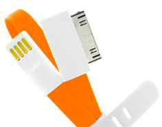 Аксессуар USB кабель Krutoff для APPLE iPhone 4/4S 1m с магнитом Orange 14120