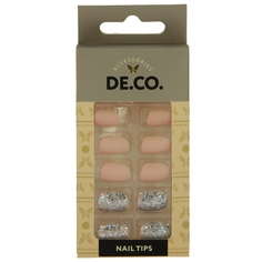 Набор накладных ногтей `DE.CO.` silver nude (24 шт + клеевые стикеры 24 шт) Deco