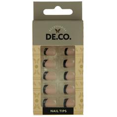 Набор накладных ногтей `DE.CO.` black french (24 шт + клеевые стикеры 24 шт) Deco