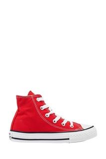 Высокие красные кеды из текстиля Converse
