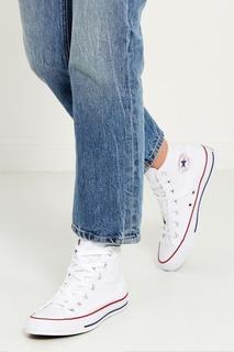 Высокие белые кеды из текстиля Converse