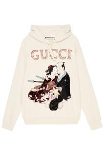 Хлопковое худи с китайским рисунком Gucci