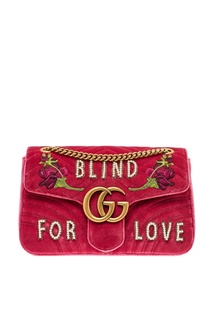 Декорированная сумка из бархата GG Marmont Gucci