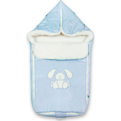 Конверт Сонный Гномик Зайчик 80х40см натуральный мех (голубой) синтепон 969/1