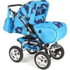 Коляска-трансформер Marimex Bemix PCL (синий/голубой) люлька, надувные колеса