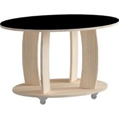 Журнальный стол MetalDesign Смарт MD 738.05.01 корпус-ясень светлый/ стекло-черный