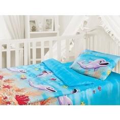 Комплект постельного белья Облачко Дельфин в детскую кроватку с простынью на резинке (186903)