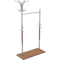 Вешалка напольная Мебелик Д 7 металлик/ средне-коричневый