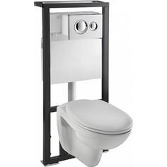 Комплект Vitra Normus унитаз с сиденьем + инсталляция + кнопка хром (9773B003-7202)