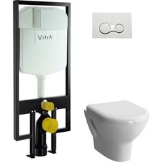 Комплект Vitra Zentrum унитаз с сиденьем микролифт + инсталляция + кнопка хром (9012B003-7206)