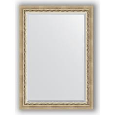 Зеркало с фацетом в багетной раме Evoform Exclusive 73x103 см, состаренное серебро с плетением 70 мм (BY 1192)
