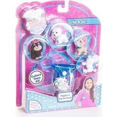 Игрушка Puppy In My Pocket брелок-сумочка голубая с 5ю флок щенками (48180-T)