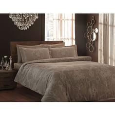 Комплект постельного белья TAC 1,5 сп Ribbon коричневый (3080-07107)/ 869604853102007107