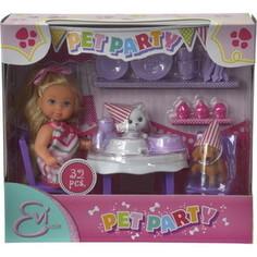 Игровой набор Simba Кукла Еви - День рождения питомцев, 12 см