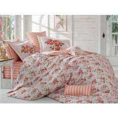 Комплект постельного белья Hobby home collection Евро, поплин, Flora, персиковый (1501001118)