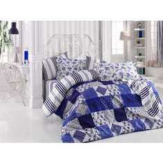 Комплект постельного белья Hobby home collection Евро, поплин, Clara, синий (1501001113)