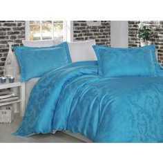 Комплект постельного белья Hobby home collection Евро, бамбук, Diamond Flower, бело-голубой (1607000027)