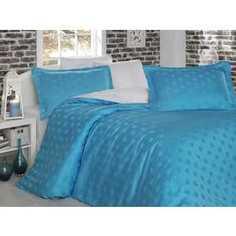 Комплект постельного белья Hobby home collection Евро, бамбук, Diamond Spot, бело-голубой (1607000034)
