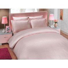 Комплект постельного белья Hobby home collection Евро, бамбук, Diamond Stripe, пудра (000053BO00802)