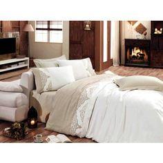 Комплект постельного белья Hobby home collection Евро, сатин, Adora, кремовый (1607000001)