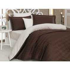 Комплект постельного белья Hobby home collection 1,5 сп, сатин, Bulut, коричнево-кремовый (1607000157)