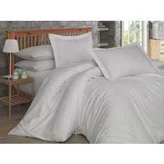 Комплект постельного белья Hobby home collection Евро, сатин, Damask, кремовый (1607000021)