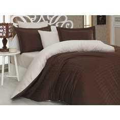 Комплект постельного белья Hobby home collection Евро, сатин, Ekose, коричнево-кремовый (1607000040)