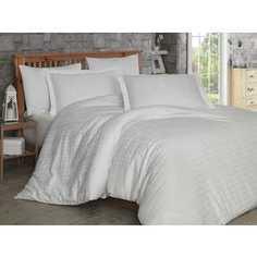 Комплект постельного белья Hobby home collection Евро, сатин, Ekose, кремовый (1607000041)