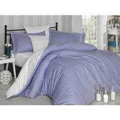 Комплект постельного белья Hobby home collection Евро, сатин, Ekose, лилово-белый (1607000042)