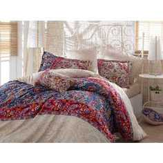 Комплект постельного белья Hobby home collection Евро, сатин, Caterina, красный (1501001137)