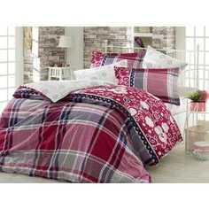 Комплект постельного белья Hobby home collection Евро, сатин, Monica, бордовый (1501001138)