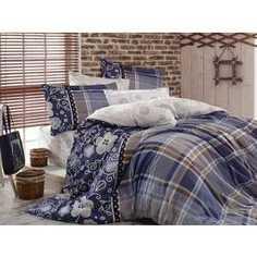 Комплект постельного белья Hobby home collection Семейный, сатин, Monica, синий (1501001152)