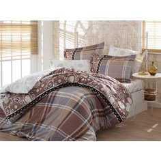 Комплект постельного белья Hobby home collection Семейный, сатин, Monica, коричневый (1501001151)