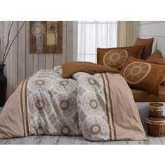 Комплект постельного белья Hobby home collection Евро, сатин, Sivlvana, бежевый (1501001143)