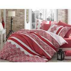 Комплект постельного белья Hobby home collection Евро, сатин, Lisa, красный (1501000942)