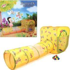 Домик Bony с тоннелем с шариками Квадрат Бабочки LI523 85х85х100 D-48х180 100 шаров