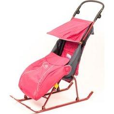 Cанки-коляска Ника Тимка 2+ (плоск. полозья поднож, регулир. Ручка, чехол д/ног светоотр. кант) Розовый Т2+ Nika