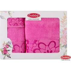 Набор из 3 полотенец Hobby home collection Dora 30x50/50x90/70x140 розовое (1501001218)